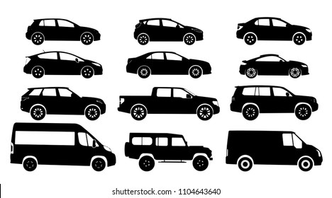 Set of car silhouette, isolated on white backgound. Black color. Sedan, hatchback, universal, pick up, van, minivan, truck, 4x4 of road car body type. Vector illustration.