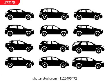 Set of car silhouette, isolated on white backgound. Black color. Sedan, hatchback and universal suv body type. 4x4 off road model car. Vector illustration. EPS 10 monochrome icons