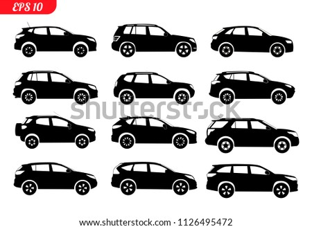 Set Car Silhouette Isolated On White Stock Vector Royalty Free