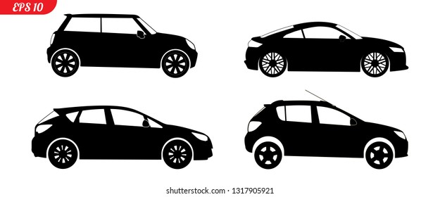 Set of car silhouettes, black hatchback model car silhouettes, logo pickup isolated on white background, vector illustration car logotype. Set car silhouettes pickup, delivery repair EPS 10 monochrome