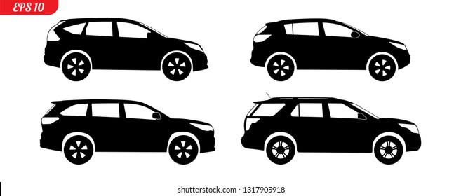 Set of car silhouettes, black SUV model car silhouettes, logo pickup isolated on white background, vector illustration car logotype. Set car silhouettes pickup, delivery repair EPS 10 monochrome icons
