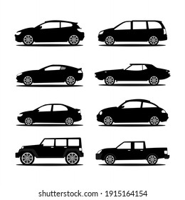 set of car silhouettes illustrations