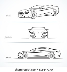 Set of car silhouettes, outlines, contours. Front, 3/4 and side view of luxury sedan. Abstract hand-drawn modern vehicle isolated on white background