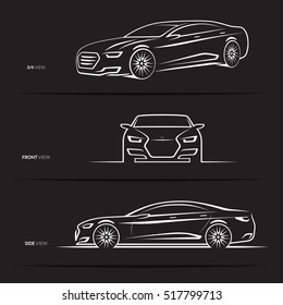 Set of car silhouettes, outlines, contours. Front, 3/4 and side view of luxury sedan. Abstract hand-drawn modern vehicle isolated on black background