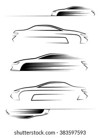 Set of car silhouettes. Side view. Vector illustration