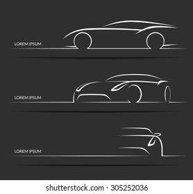 Set of car silhouettes. White hand drawn sports car outlines / contours isolated on dark background. Vector illustration