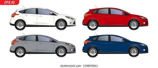 Set of car template for car branding and advertising. Isolated sedan on white background. Vector illustration.  Set of different color car model, side view. White, red, grey and blue body color.