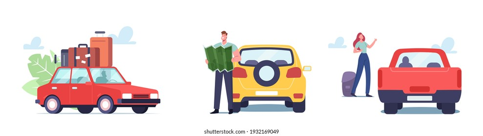 Set Car Travel Theme. Man with Map and and Woman with Camping Stuff and Luggage Traveling by Automobile. Male and Female Characters Enjoy Auto Tourism, Road Journey. Cartoon People Vector Illustration - Shutterstock ID 1932169049