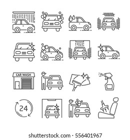 Set of car wash Related Vector Line Icons. Includes such Icons as car washing, polishing glass, vacuum cleaner,  wash products, wash device