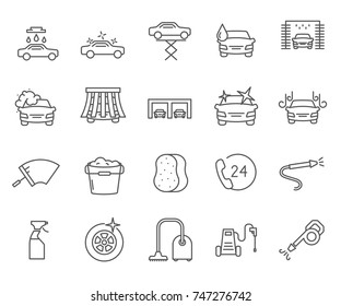 Set of car wash Related Vector Line Icons. Includes such Icons as car washing, polishing glass, vacuum cleaner, wash products, wash device and more.