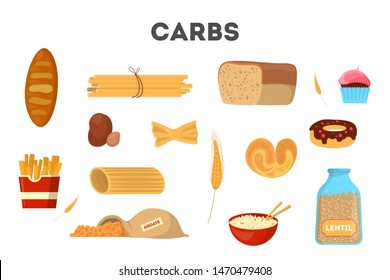 Set of carb food. Bread and other bakery, pasta, rice and sugar. Delicious meal from carbohydrate group. Isolated vector illustration in cartoon style