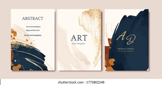 Set of card with abstract shape, splash gold. Wedding watercolor concept. Navy blue poster, invite. Vector decorative greeting card or invitation design background