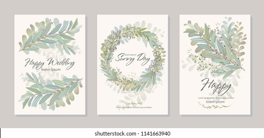 Set of card with beautiful twigs with leaves. Wedding ornament concept. Imitation of watercolor, isolated on white. Sketched wreath, floral and herbs garland