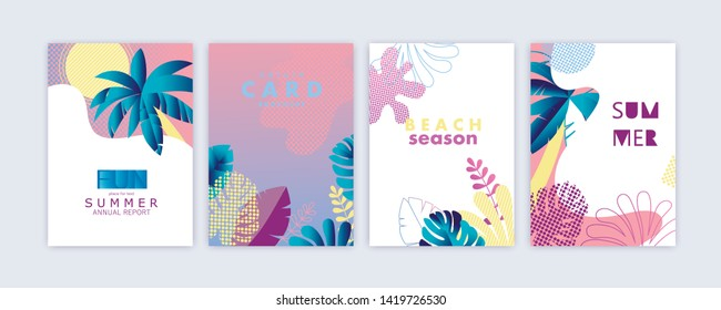 Set of card, brochure, annual report,  cover design templates with exotic palm leaves. Summer modern colorful design. Vector illustration.