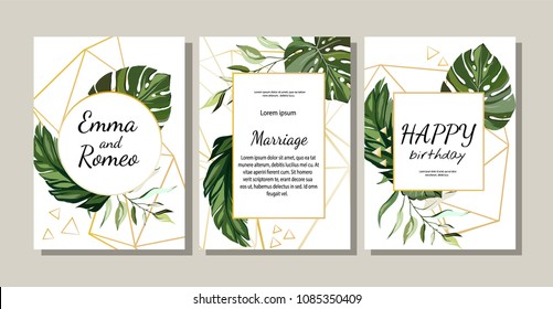 Set of card with exotic leaves.  poster, invite. Vector decorative greeting card or invitation design background