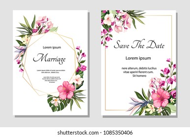 Set of card with exotic leaves. Tropical Wedding ornament concept with flowers. Floral poster, invite. Vector decorative greeting card or invitation design background