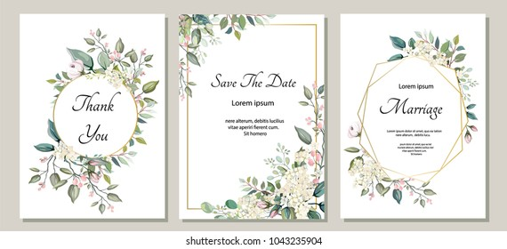 Set of card with flower, leaves. Wedding ornament concept. Floral poster, invite. Vector decorative greeting card or invitation design background