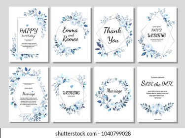 Set of card with flower rose, leaves. ornament concept. blue Floral poster, invite. Vector decorative greeting card, invitation design background