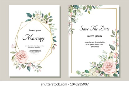 Flower Wedding Card Design Stock Vectors Images Vector Art