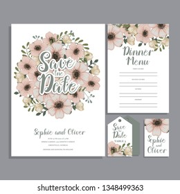 Set of card with flower rose, leaves. Wedding ornament concept.