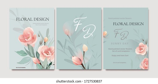 Set of card with flower rose, leaves. Wedding watercolor concept. Floral poster, invite. Vector decorative greeting card or invitation design background