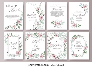 Set of card with flower rose, leaves. Wedding ornament concept. Floral magazine, poster, invite. Vector layout decorative greeting card or invitation design background