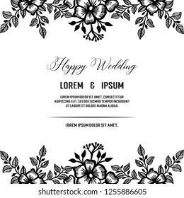 Set of card with flower wedding ornament concept vector