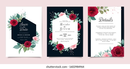 Set of card with flowers. Blue navy wedding invitation template set with floral frame. Peach roses and leaves botanic illustration for background, save the date, greeting, poster, cover vector