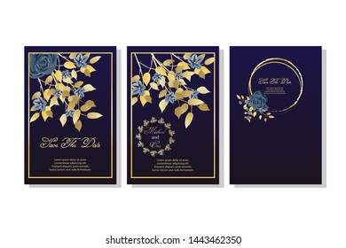 Set of card with flowers, rose, leaves. Wedding navy blue and gold concept. Vector illustration.