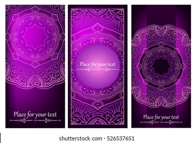 Set of Card or invitation with purple oriental pattern in Indian, Arabic, Islamic, Turkish style, with a circular floral ornament.