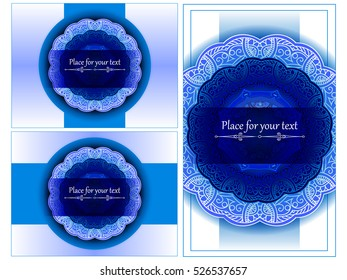 A set of card or invitations with a gentle blue floral ornament in the Indian, Arabic, Turkish, Islamic, Oriental style