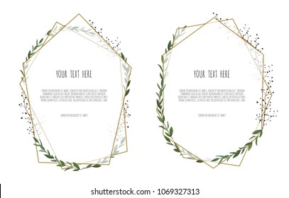 Set of card with leaves and geometrical frame. Floral poster, invite. Vector decorative greeting card, invitation design background.