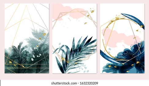 Set of card with palms, leaves. Wedding green, navy blue and gold concept. Tropical poster, invite. Vector decorative greeting card or invitation design background