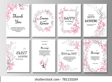 Set of card with pink wild flowers, leaves. Wedding ornament concept. Floral poster, invite. Vector decorative greeting card or invitation design background