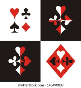 Set of card suits. The character set of card suits and decorative images based on them.