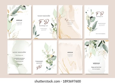 Set of card template with herbs, leaves.  Wedding invite. Vector decorative greeting card or invitation design background with watercolor and gold