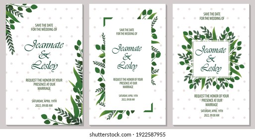 set of card with tropical leaf, wedding ornament concept, decorative invitation card background