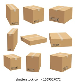 Set of cardboard box mockups. Isolated on white background. Vector carton packaging box images.