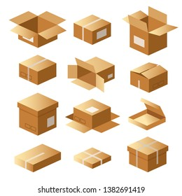 Set of cardboard boxes, carton package, shipping delivery, cargo, parcel.