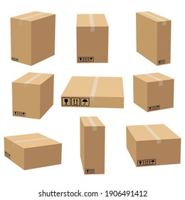 Set of cardboard boxes mockups. Carton delivery packaging box. Vector 3D illustration isolated white background.