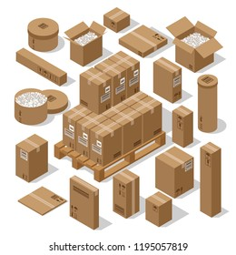a set of cardboard boxes for the transportation of goods. Brown open containers with foam and closed boxes on a white background. Isometric 3d
