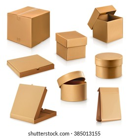 Set cardboard boxes, vector