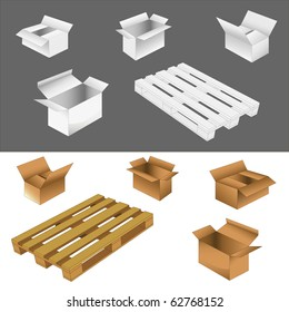 set of cardboard boxes and wood pallets. vector illustration