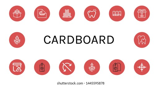 Set of cardboard icons such as Box, Wrapping, Boxes, Tooth, Conveyor, Wedding gift, Important delivery, Price tag, Do not roll, Packaging, Center of gravity, Teeth , cardboard