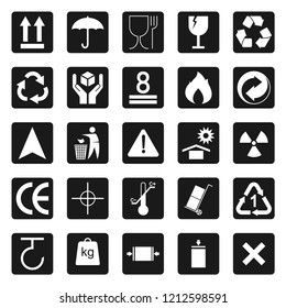 set of cardboard package sign vector icon, modern design, glyph style, modern concept