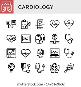 Set of cardiology icons such as Defibrillator, Sphygmomanometer, Medical report, Heart rate, Heartbeat, Ecg, Stethoscope, Pressure, Electrocardiogram, Cardiology , cardiology