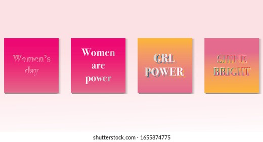 Set of cards for 8 March womens day. pink colour. Abstract background with text.Vector illustration poster of girl power