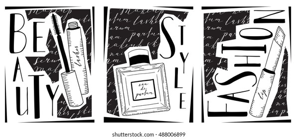A set of cards about cosmetics, with the image of perfume, mascara and lipstick. With the words lettering beauty, fashion and style.