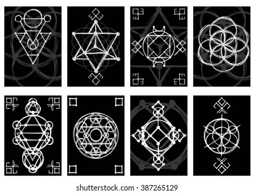 Set of cards with abstract hand sketched sacred geometry drawings. Tribal style. Vector illustration.