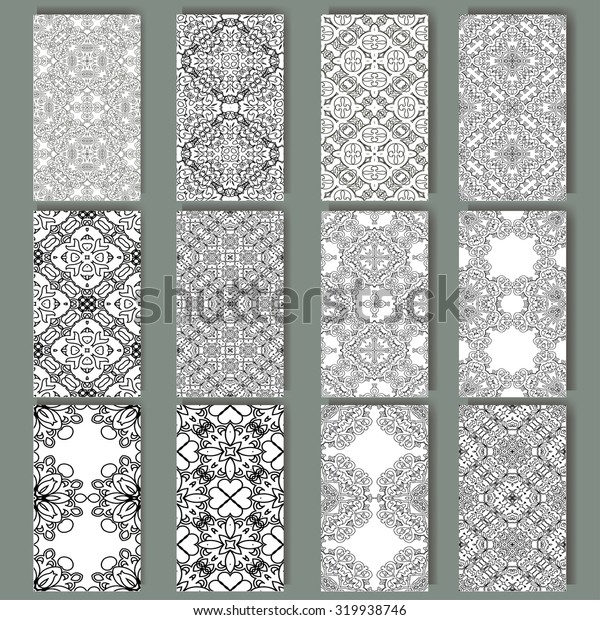 Set of cards for any kind of design. Pattern in retro style with ornament. Geometric element made in vector.